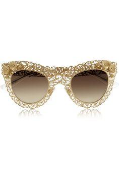 Dolce & Gabbana|Cat eye filigree gold-tone sunglasses|NET-A-PORTER.COM