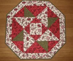 Christmas Quilted Table Topper Quiltsy Handmade Red by HollysHutch
