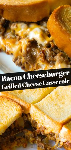 Bacon Cheeseburger Grilled Cheese Casserole is an easy hamburger casserole recipe loaded with ground beef, onions and cheese all sandwiched between layers of toasted bread. Easy Hamburger Casserole, Bacon Cheeseburger Casserole, Easy Casserole Recipes, Casserole Dishes, Chicken Casserole, Chicken Enchiladas, Grilled Cheese Recipes, Meat Recipes, Hamburger Recipes