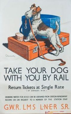 Railway Posters, Travel Posters, International Dog Day, Animal Statues, Dogs, Animals, Vintage Travel, 1930s, David