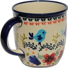 Polish Pottery Coffee Mug 12 Oz. Love the  birds, not crazy about the flowers on the bottom though.