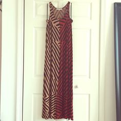 EUC Ann Taylor Loft Maxi Dress. Size small. Color block and striped Loft Maxi dress with racer back. Has small loops for belt that I no longer have. Any skinny or fabric rope like belt could be a replacement. LOFT Dresses Maxi