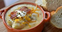 This ULTIMATE Potato Soup is packed with flavor, made in the slow cooker, and just the thing for Fall weather! I don't know about you, but when the cooler weather heads my way, I Crockpot Recipes, Soup Recipes, Cooking Recipes, Budget Recipes, Bar Recipes, Free Recipes, Dinner Recipes, Slow Cooker Potato Soup, Stuffing Casserole