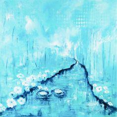 Río de cristal | Crystal river | Acrílico sobre lienzo | Acrylic on canvas by Pili Tejedo 110 x 110 cm
