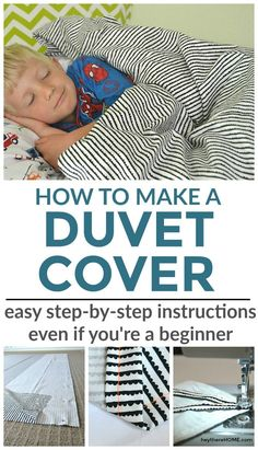 Easy step-by-step sewing tutorial to make your own twin duvet cover for your kid's bedroom. Can be easily modified to make a larger size duvet cover too. via @heytherehome #tutorial #duvetcover #sewing