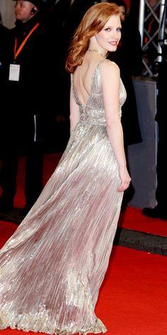 Jessica Chastain in Oscar de la Renta gown and Harry Winston diamonds - At the BAFTA Awards.  (February 2012)