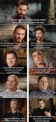 The dwarves describing their characters in the Hobbit