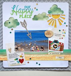 Our Happy Place - Scrapbook.com - Made with Simple Stories Good Day Sunshine Collection.