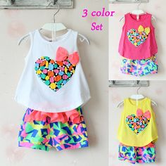 T-shirt and flower shorts summer girls clothes