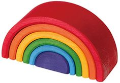 Toy Stacking Block Sets - Grimms Large 6Piece Rainbow Stacker  Nesting Wooden Waldorf Blocks Elements of Nature AIR * Read more at the image link.