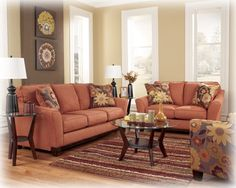 Another view of my new couch and loveseat! Gale - Russet Sofa from Ashley Furniture Home Design, Interior Design Trends, Küchen Design, Interior Ideas, Couch And Loveseat Set, Sofa Couch, Sofa Set, Living Room Furniture, Home Furniture