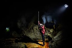 A sulfur miner working at Kawah Ijen volcano in Indonesia.