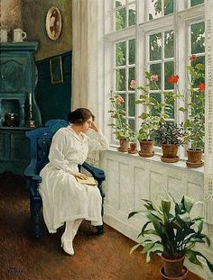 'The Painter's wife Musse, sitting at the Window in their Home at Sofievej, Hellerup, north of Copenhagen' by Paul Gustav Fischer Danish Painter . Reading Art, Woman Reading, Tableaux Vivants, Anime Comics, Female Art, Les Oeuvres, Painting & Drawing, Art History, Book Art