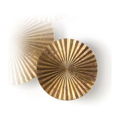 """Apollo Metal Wood Crimped Gold Wall Plaque Disc - 12""""H (2 570 ZAR) ❤ liked on Polyvore featuring home, home decor, wall art, circle, wooden wall art, wooden plaques, wooden home decor, optical art and wood home decor"""