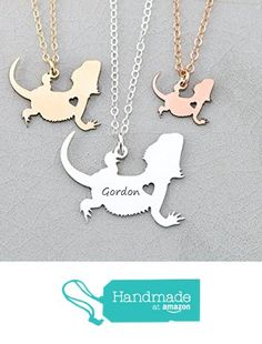 Bearded Dragon Necklace - Lizard - IBD - Personalize with Name or Date - Choose Chain Length - Pendant Size Options - 935 Sterling Silver 14K Rose Gold Filled - Ships in 1 Business Day from DistinctlyIvy