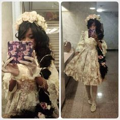 Yesterday's outfit for Dance Of Vice. Was last minute Rapunzel lol. My first time there and spent it with some awesome friends! Harajuku Fashion, Kawaii Fashion, Lolita Fashion, Cute Fashion, Asian Fashion, Lolita Goth, Estilo Lolita, Lolita Dress, Lolita Style