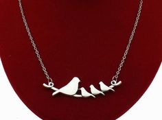 Birds on a Branch Necklace Silver Tone Four Birds Necklace Mom Babies  #HandmadewithLove #Pendant
