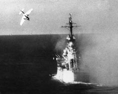 A Japanese Kamikaze suicide plane shown swooping down on a U.S. warship in a dramatic action in World War II. In the three-day battle of Leyte Gulf, in Oct. 1944, the Japanese threw the suicide planes into action for the first time in a desperate effort to save their fleet. (AP Photo)