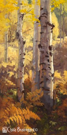 """""""Autumn Sentinels"""" 24x12 is a study in autumn colors and how they interact with the white bark of the aspen."""