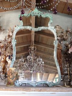 Italian lavender drop chandelier reflected in a French MIRROR