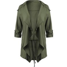 Drape Plus Size Lapel Waterfall Coat ($20) ❤ liked on Polyvore featuring outerwear, coats, jackets, drape coat, green coats, drapey coat, waterfall drape coat and womens plus coats