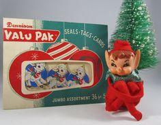 vintage christmas envelope dennison valu pak retro gift tag packaging 50s paper