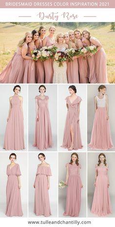 2021 wedding color inspiration with mismatched dusty rose bridesmaid dresses on budget from tulleandchantilly Photography @merrycharacterphotography