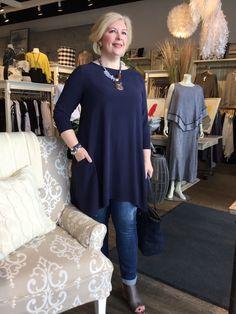Feb. 2017- True Blue, this Eileen Fisher silk tunic dress is a four season piece that adapts to denim, to dressy looks, making it a wardrobe basic.