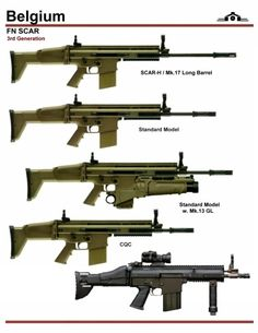 SCAR-Hs. Not sure about the black one at the bottom - maybe is is a prototype of a 7.62mm PDW - the PDW available today is 5.56mm only.