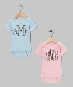 Blue & Pink Monogram Bodysuit Set - Infant