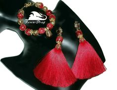 Red long tassels earrings and bracelet from sugar quartz designer jewelry handmade.