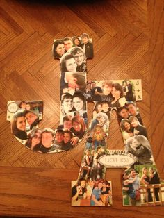 My valentines/anniversary gift for my boyfriend! Mine and his first initials and a collage of 4 years worth of pics. Inexpensive, from the heart, he loved it!