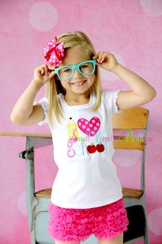 Back To School Embroidered Shirt - Kindergarten - 1st Grade - 2nd Grade - School Shirts - I Heart School - I Love School Shirt -Girls School by smallwonders00 on Etsy https://www.etsy.com/listing/184009405/back-to-school-embroidered-shirt