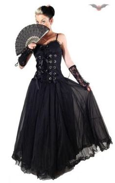 Queen Of Darkness: Long Black Gown with Ribbon Laced Bodice