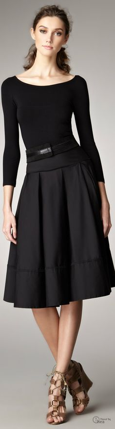 Donna Karan ● Black Vback Bodice Dress