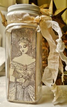 Victorian and French Ladies Bottle of Paper Scraps