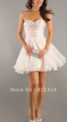 Cute Puffy short Organza Bridesmaid Evening prom dress Club party dress free