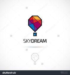 Vector Logo Design, Polygonal Hot Balloon Symbol Icon. Logotype Template…