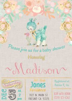 Little Lamb Baby Shower Invitation Invite Rustic VIntage Water Color Flowers Pink Peach Gold Mint