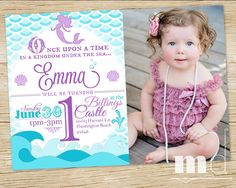 Items Similar To Mermaid Birthday Party Invitation WITH PHOTO Little Invite Ariel Scales Custom Photo PRINTABLE