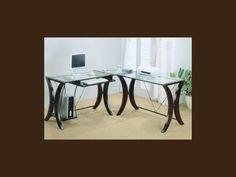 800446  L  Shaped Glass Desk   Just Like Home Affordable Furniture