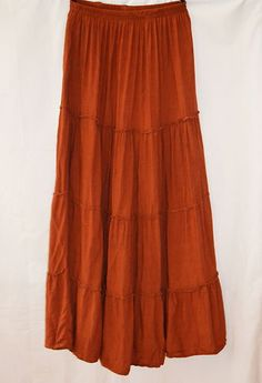 Womens Long Bohemian Skirt Sz Small Medium Rust Maxi Full Length Peasant