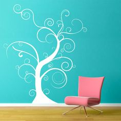 "Thin Bare Whimsical Tree Wall Decal - 60""x72""-  Vinyl Wall Art Decal Sticker. $99.00, via Etsy.   hang small pics of family from branches"