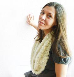 Crochet fashion infinity scarf minty fur chunky by Mashacrochet