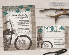 Motorcycle Wedding Invitations Biker Bride Wedding Invitations For Biker  Weddings Route 66 Digital Printable Vintage Motorcycle Harley Files