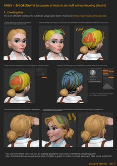 These are breakdowns of some of the workflows I used to sculpt and render Mary. She was sculpted and rendered entirely in ZBrush. The render passes were then composited in Photoshop.