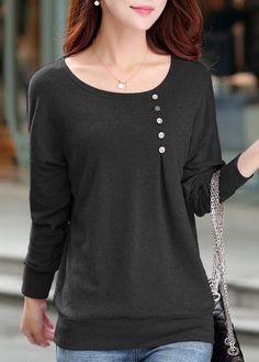 Round Neck Long Sleeve T Shirt on sale only US$23.97 now, buy cheap Round Neck Long Sleeve T Shirt at lulugal.com