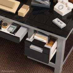 https://flic.kr/p/UzPdxQ | Drawer Detail (Black) | All previous desks I've offered have been in brown, but I wanted to offer this new one in a different color. So this new desk was designed specifically for easy color-swapping. Ironically, after testing a dozen different colors... I settled on black. :)
