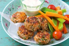 Salmon and brown rice patties. These healthy and tasty patties make great snacks for the lunch-box - and for the grown-ups.