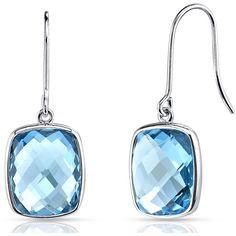 9 4/5 CT TGW Cushion Cut Swiss Blue Topaz 14K White Gold Dangle Earrings